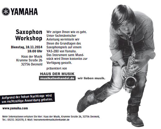 Gratis Workshop: In nur 2 Stunden ein Hit auf dem Saxophon